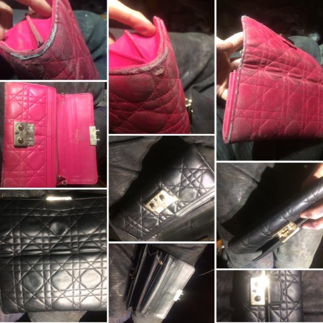 restauration et changement dee couleur sur une pochettes Christian Dior