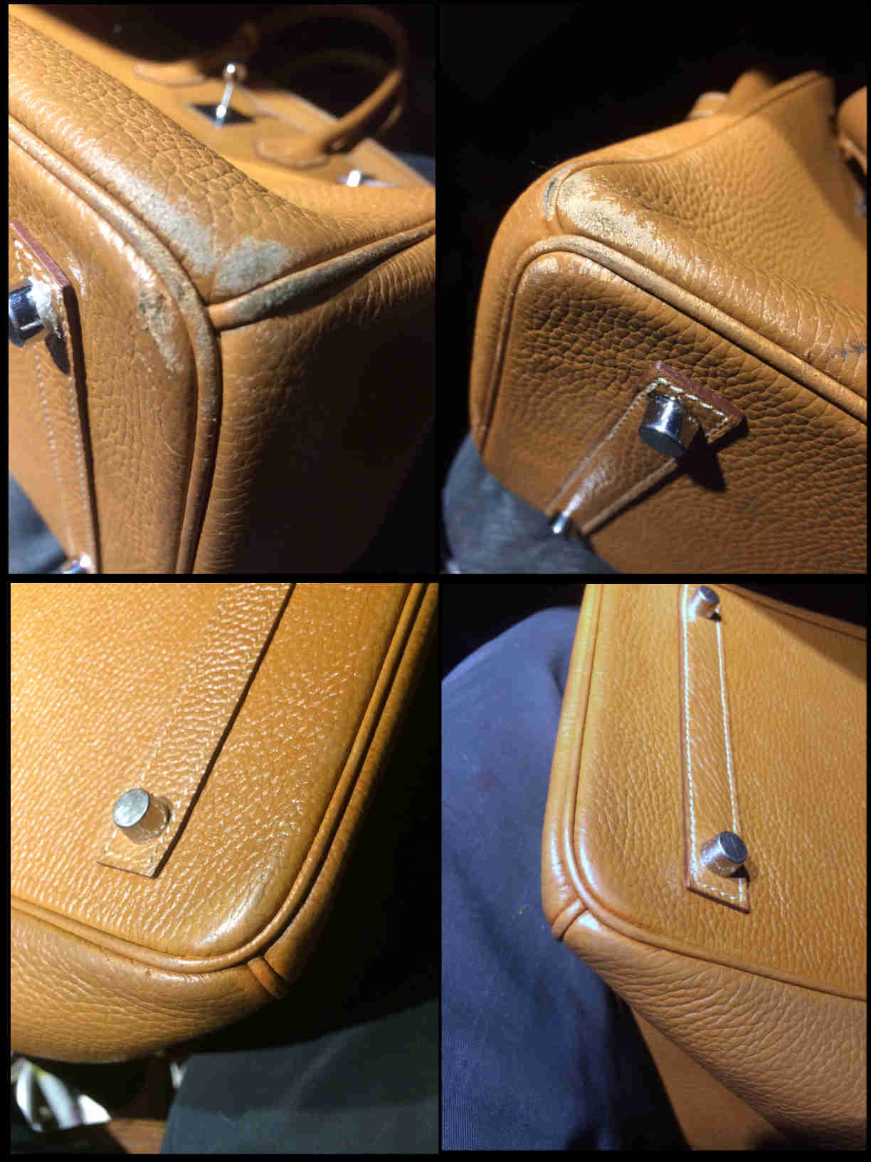 Hermes Kelly restauration reparation coins cuir
